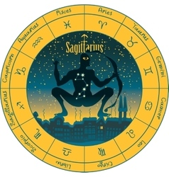 Sagittarius with the signs of the zodiac vector