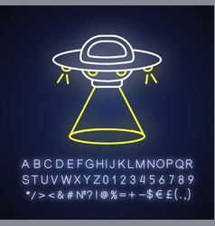 Science fiction neon light icon vector