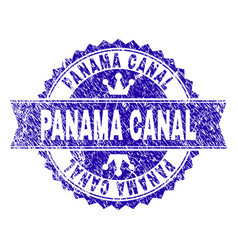 Scratched textured panama canal stamp seal with vector