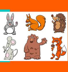 set cartoon wild animal characters vector image