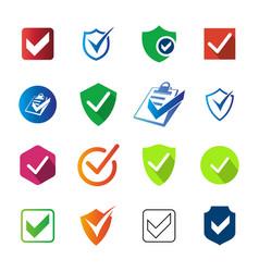 Set checklist icon shield document vector