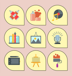 set of art icons in flat design atist ink graphic vector image