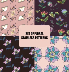 Set of beautiful floral seamless patterns vector image