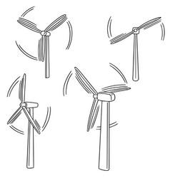 set of wind turbine vector image
