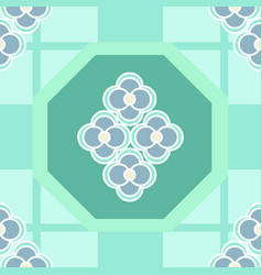 Simple daisy checked pattern in aqua green vector
