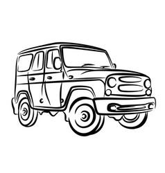 Sketch of off-road car vector
