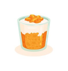 tasty curd dessert with persimmon in glass vector image