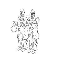 Thief cartoon with money bag and gun design vector image