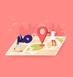 tiny characters orienteering at huge paper map vector image