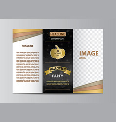 tri-fold brochure template for halloween party vector image