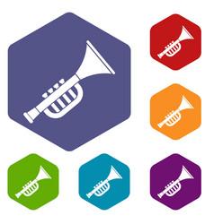 Trumpet toy icons set hexagon vector