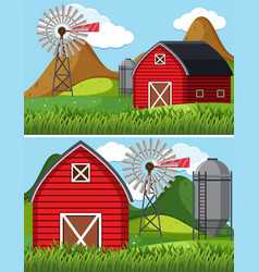 two farm scenes with red barn vector image