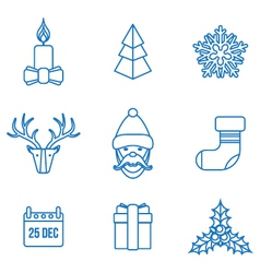 various christmas outline icons set vector image