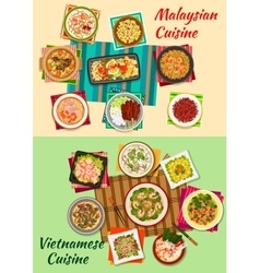 Vietnamese and malaysian cuisine icon vector