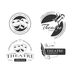 Vintage theatre labels emblems badges and vector