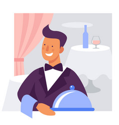 waiter with a dish flat vector image