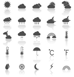 Weather icons with reflect on white background vector