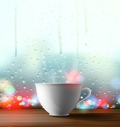 white cup on the background of a window vector image