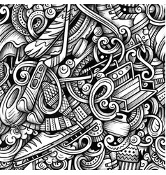 Winter sports hand drawn doodles seamless vector