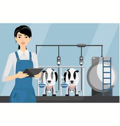 Woman farmer on a modern dairy farm vector