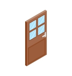 Wooden door with glass icon isometric 3d style vector image