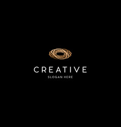 Wooden plate rounded creative logo design vector