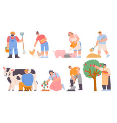working farmers agricultural worker milk cow vector image