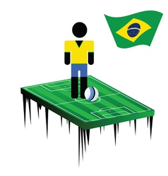World cup in brasil with football player color vector