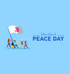 World peace day banner of diversity people team vector