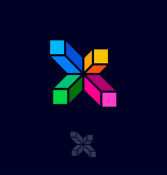 X letter color crystals building construction logo vector