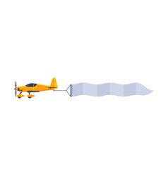 yellow plane with blank horizontal banner flying vector image