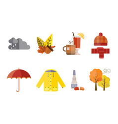 Autumn clothes set the fall treeclouds cold vector