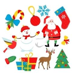 flat Christmas set vector image