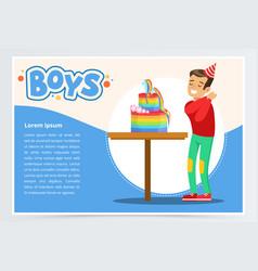 happy boy and a birthday cake cute kid vector image vector image