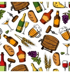 Pub whiskey drinks snacks seamless background vector
