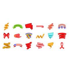 ribbon icon set cartoon style vector image