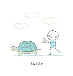 Tortoise and the people vector image vector image