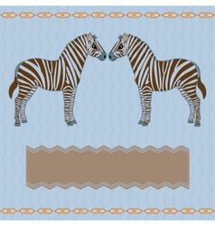 Zebra card with stripes vector image vector image