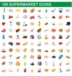 100 supermarket set cartoon style vector