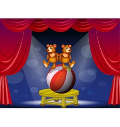 A circus show with two bears vector image vector image