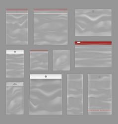 cleartransparent zip bags realistic set vector image vector image