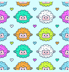 cute sheep lamb face seamless pattern vector image