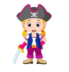 kids girl pirate cartoon vector image vector image