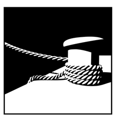 Knecht and mooring ropes black and white vector image
