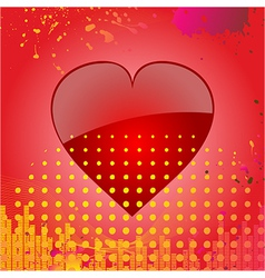 Love heart on abstract red background vector image vector image