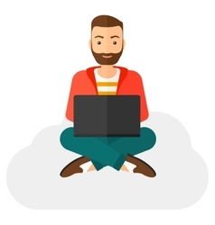 Man sitting with laptop vector image