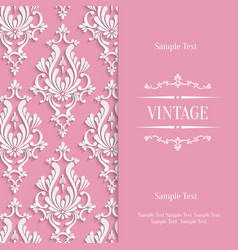 Pink 3d Vintage Invitation Card Template vector image vector image