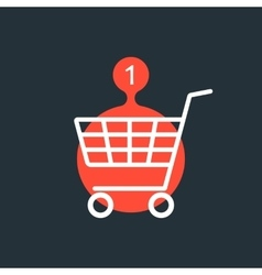shopping cart with one purchase red sign vector image