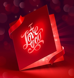 Valentines Day glowing greeting card with ribbon vector image vector image