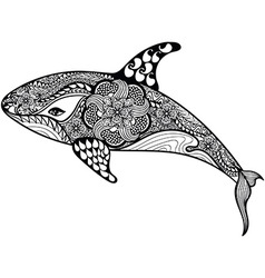 Zentangle stylized Sea Shark Hand Drawn isolated vector image vector image